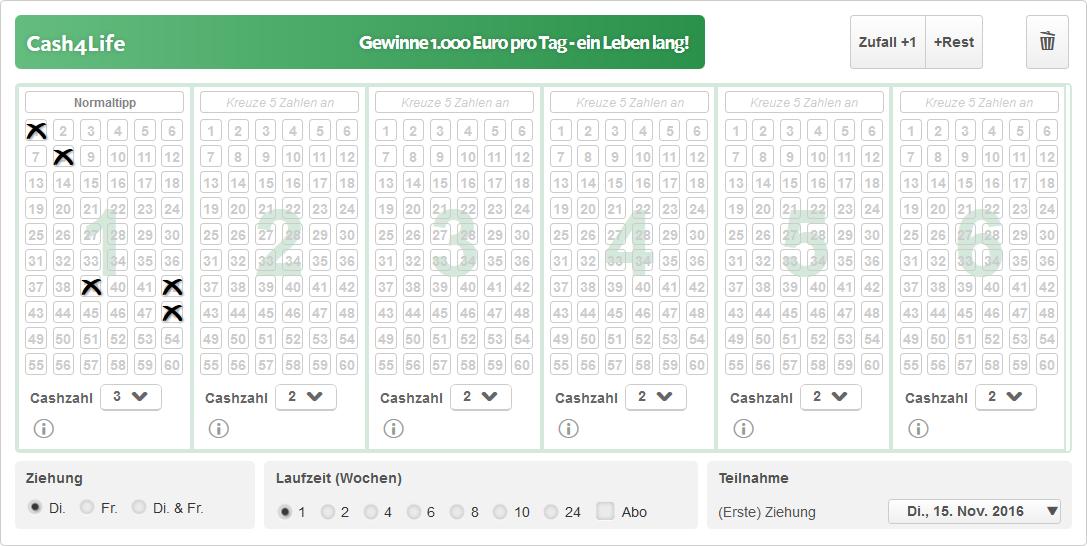Cash4Life Spielschein bei Lottoland